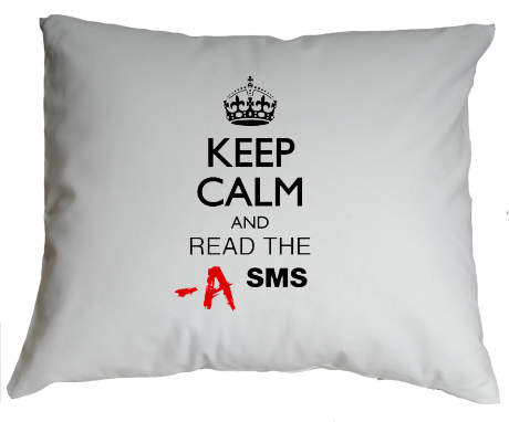 Poduszka Keep Calm and Read the A SMS