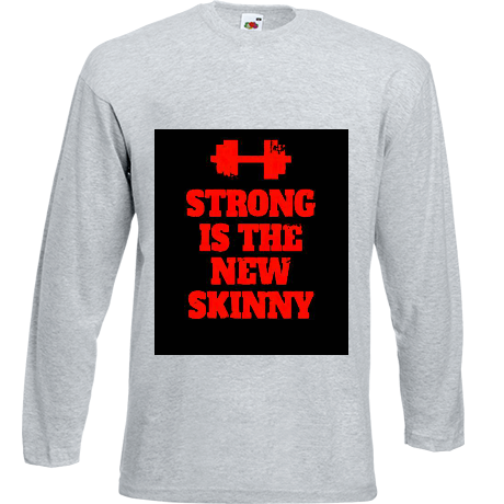 Koszulka z długim Strong is the New Skinny - Black/ Red