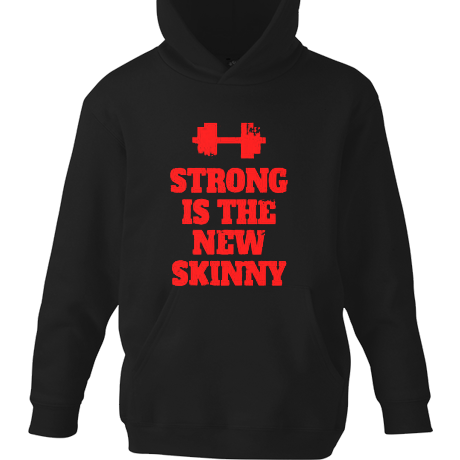 Dziecięca bluza z kapturem Strong is the New Skinny - Black/ Red