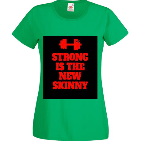 Koszulka damska Strong is the New Skinny - Black/ Red