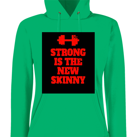 Damska bluza z kapturem Strong is the New Skinny - Black/ Red