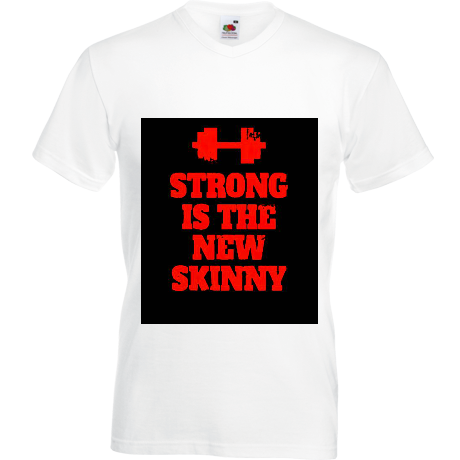 Koszulka V-neck Strong is the New Skinny - Black/ Red