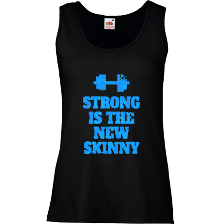 Koszulka damska bez rękawów Strong is the New Skinny - Black/Blue