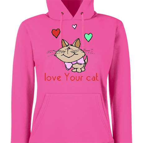 Damska bluza z kapturem Bluzka LOVE YOUR CAT