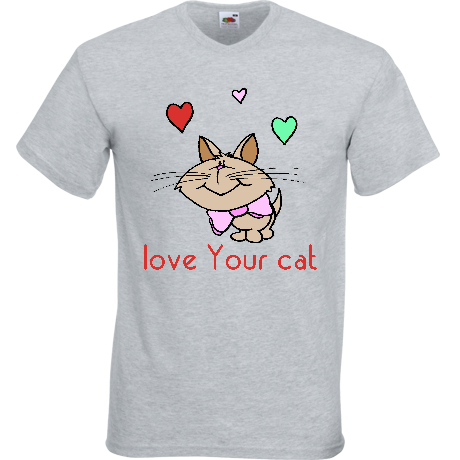 Koszulka V-neck Bluzka LOVE YOUR CAT