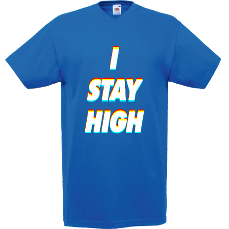 Koszulka V-neck 3D Label - I STAY HIGH