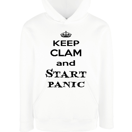 Dziecięca bluza z kapturem Keep clam and start panic