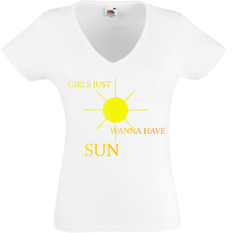 Koszulka damska V-neck girls just wanna have sun
