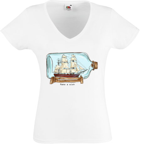 Koszulka damska V-neck Ship in a bottle