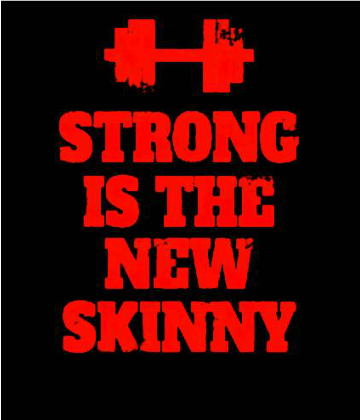 Nadruk Strong is the New Skinny - Black/ Red