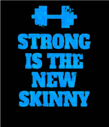 Nadruk Strong is the New Skinny - Black/Blue