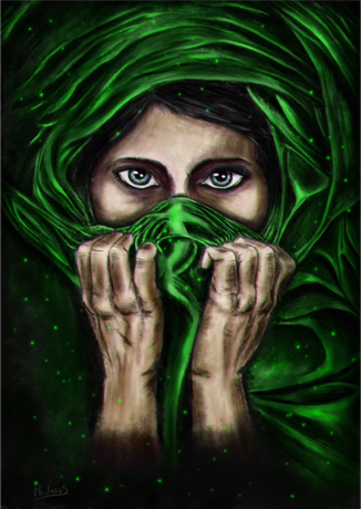 Nadruk Mysterious Lady- Green