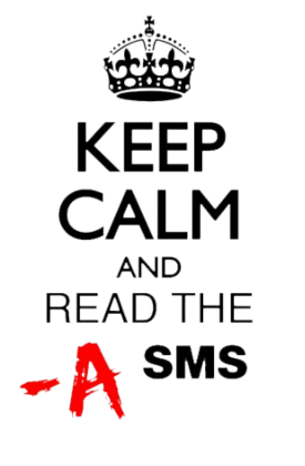 Nadruk Keep Calm and Read the A SMS